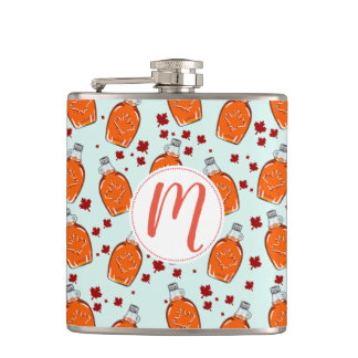 Canadian Maple Syrup Pattern Hip Flask