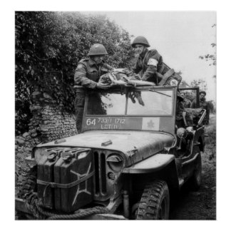 Canadian Medic on Jeep France World War II Poster