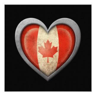 Canadian Metal Heart Flag on Black Invitations