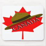 Canadian Mountie Hat on Red Maple Leaf Mouse Mat