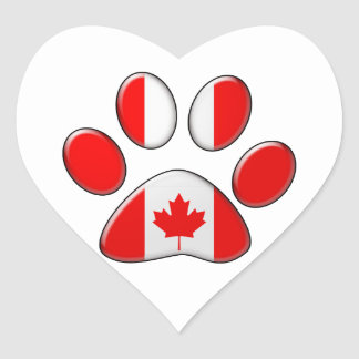 Canadian patriotic cat heart sticker