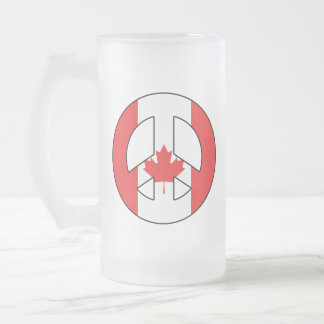 Canadian Peace Sign Frosted Glass Beer Mug