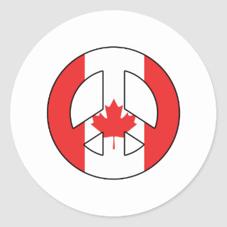 Canadian Peace Sign Round Sticker