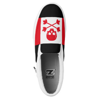 Canadian Pirate Scull and Crossbones Maple Leaf Slip-On Shoes