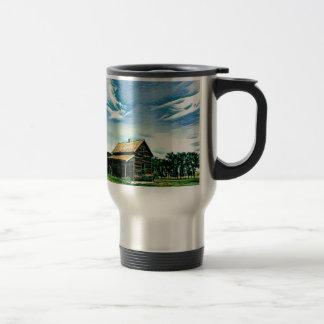 Canadian prairies homestead colour travel mug