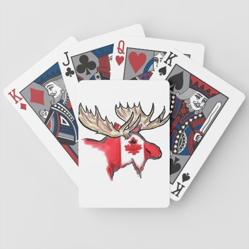 Canadian pride Canada flag elk playing cards