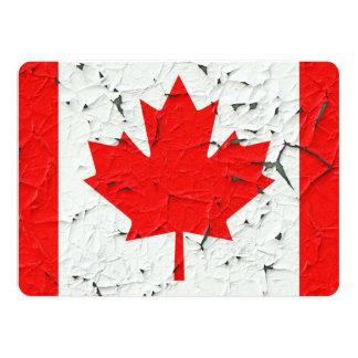 Canadian Red Maple Leaf CANADA Peeling Paint Print 14 Cm X 19 Cm Invitation Card