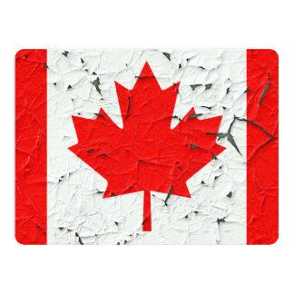 Canadian Red Maple Leaf CANADA Peeling Paint Print 17 Cm X 22 Cm Invitation Card