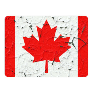 Canadian Red Maple Leaf CANADA Peeling Paint Print 14 Cm X 19 Cm Invitation Card