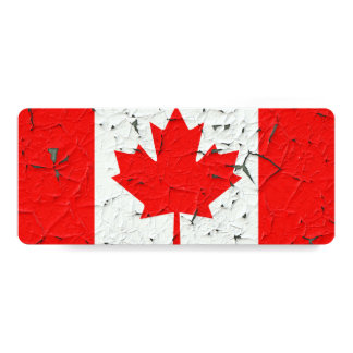 Canadian Red Maple Leaf CANADA Peeling Paint Print 10 Cm X 24 Cm Invitation Card