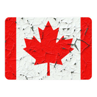 Canadian Red Maple Leaf CANADA Peeling Paint style 11 Cm X 16 Cm Invitation Card