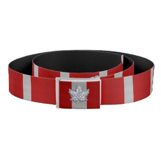 Canadian Red Maple Leaf on Carbon Fiber Print Belt