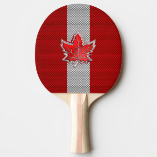 Canadian Red Maple Leaf on Carbon Fiber style Ping Pong Paddle