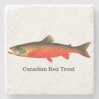 Canadian Red Trout Fish Stone Coaster