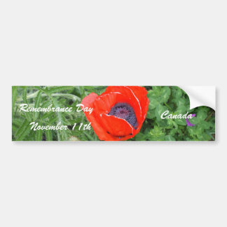 Canadian Remembrance Day November+11th Poppy Car Bumper Sticker