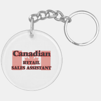 Canadian Retail Sales Assistant Double-Sided Round Acrylic Key Ring