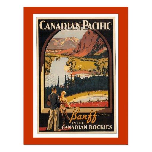 Canadian Rockies Travel Poster Vert Postcard