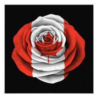Canadian Rose Flag on Black Invitation