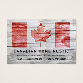 Canadian Rustic Wood Craft Work Theme Canad Flag Business Card