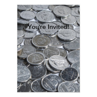 """Canadian Silver Coins 5"""" X 7"""" Invitation Card"""