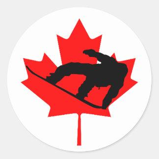 Canadian Snowboarder Classic Round Sticker