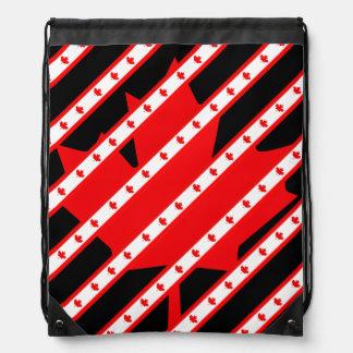 Canadian stripes flag drawstring bag