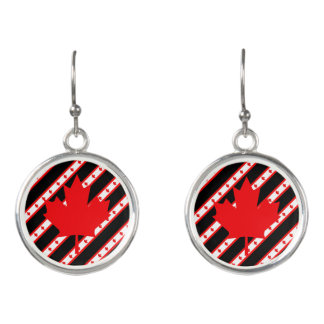 Canadian stripes flag earrings