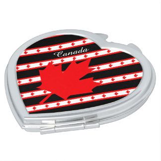 Canadian stripes flag makeup mirror