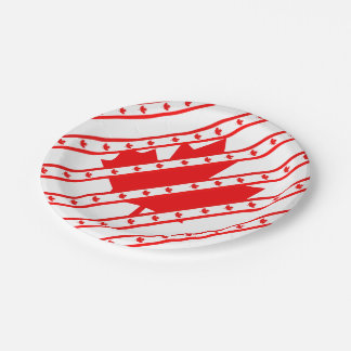 Canadian stripes flag paper plate