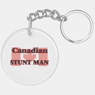 Canadian Stunt Man Double-Sided Round Acrylic Key Ring