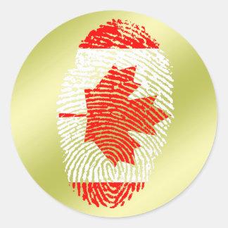 Canadian touch fingerprint flag round sticker