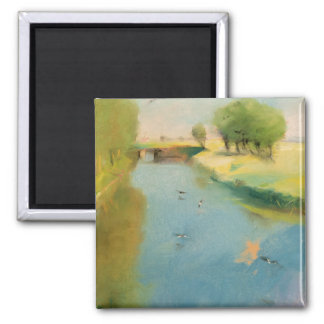 Canal, 1897 (pastel on canvas) square magnet