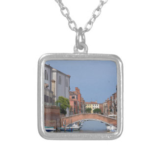 Canal at Venice in Italy Silver Plated Necklace