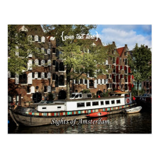 Canal Barge, Sights of Amsterdam Postcards