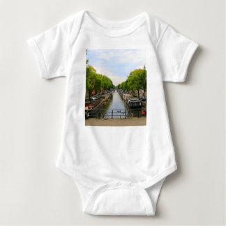 Canal, bridges, bikes, boats, Amsterdam, Holland Baby Bodysuit