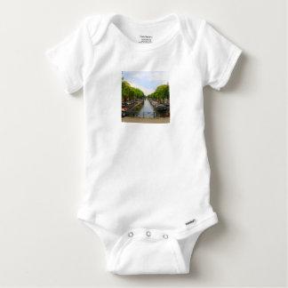Canal, bridges, bikes, boats, Amsterdam, Holland Baby Onesie