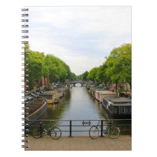 Canal, bridges, bikes, boats, Amsterdam, Holland Notebooks