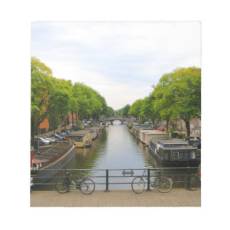 Canal, bridges, bikes, boats, Amsterdam, Holland Notepad