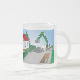 Canal construction place frosted glass coffee mug