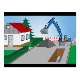Canal construction place postcard