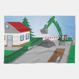 Canal construction place tea towel