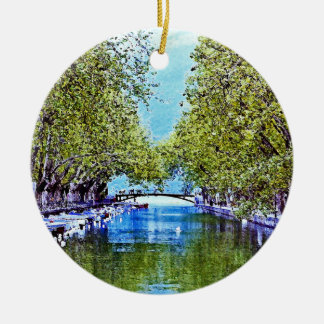 Canal in Annecy France Ceramic Ornament