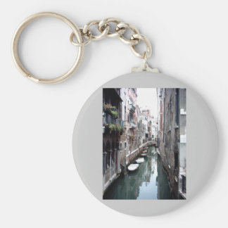 Canal in Venice Basic Round Button Key Ring