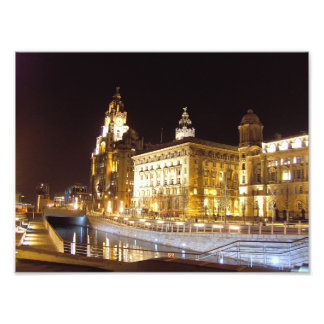 Canal & Three Graces, Pier Head, Liverpool, UK Photo Print