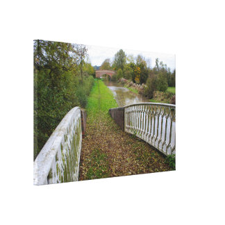 Canal Tow Path in Autumn Wapped Canvas