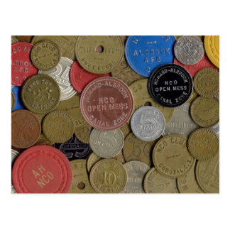 Canal Zone Tokens Collage Postcard