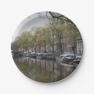 Canals in Amsterdam, Holland 7 Inch Paper Plate