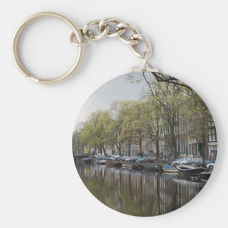 Canals in Amsterdam, Holland Key Ring