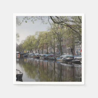 Canals in Amsterdam, Holland Paper Napkin