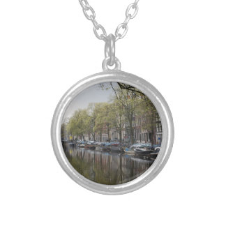 Canals in Amsterdam, Holland Silver Plated Necklace